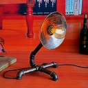 Industrial Vintage 13.8''W Table Lamp with Saucer Metal Shade in Rust Finish