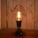 Industrial Vintage 5''W Table Lamp with Metal Cage in Black Finish