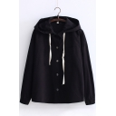 Leisure Drawstring Detail Button Down Hooded Chest Pocket Plain Coat