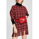 Spring Fashion High Neck Tartan Plaids Color Block Pattern Tassel Hem Shift Mini Dress