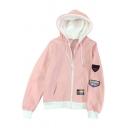 Street Fashion Badge Applique Detail Zippered Pockets Hoodie