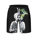 Funny Einstein Smoke Print Drawstring Waist Sports Shorts