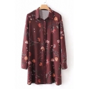 Floral Printed Lapel Collar Long Sleeve Buttons Down Mini Shirt Dress