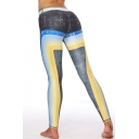 Chic Color Block Elastic Waist Slim-Fit Workout Leggings