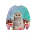 Lovely Crown Cat Ice Cream Printed Round Neck Long Sleeve Pullover Sweatshirt