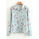 Unique Chilli Hot Pepper Allover Pattern Lapel Chest Pockets Button Front Shirt