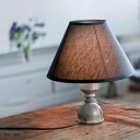 Industrial Vintage 9.8''W Table Lamp with Fabric Shade and Pipe Fixture Arm