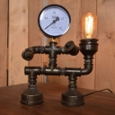 Industrial Vintage 9''W Table Lamp with Pressure Gauge in Pipe Style, Black