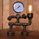 Industrial Vintage 9''W Table Lamp with Pressure Gauge in Pipe Style, Black