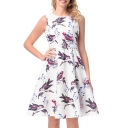 Retro Bird Floral Printed Round Neck Sleeveless A-Line Midi Dress with Belt