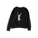 Stylish Geometric Deer Pattern Striped Sleeve Pullover Sweatshirt
