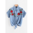 New Stylish Lapel Collar Short Sleeve Buttons Down Floral Embroidered Denim Shirt