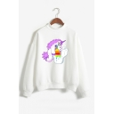 Cute Unicorn Printed Long Sleeve Mock Neck Pullover Sweatshirt