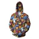 Street Style Character Printed Long Sleeve Zip Up Hoodie