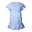 New Stylish Plaid Round Neck Flare Short Sleeve Mini Swing Dress