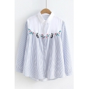 Retro Style Cat Floral Embroidered Striped Color Block Button Front Shirt