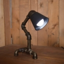 Industrial Vintage Table Lamp with Metal Shade in Pipe Style, Black