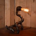 Industrial 11.8''W Table Lamp with Pipe Lamp Base in Open Bulb Style, Black