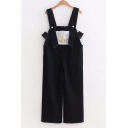 Girly Plaids Pattern Raw Edged Loose Wide Leg Overall Jumpsuit with Pockets