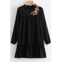 Chic Floral Embroidered Ruffle Round Neck Loose Long Sleeves Swing Mini Dress