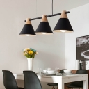 Industrial 3 Light Island Light with Cone Metal Shade in Nordical Style, Black