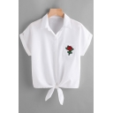 Women's Fashion Floral Embroidered Lapel Button Front Bow Detail Shirt