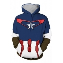 Fancy Color Block Superhero Theme Long Sleeves Pullover Hoodie with Pocket