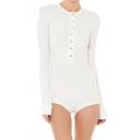 Chic Plain Simple Buttons Down Round Neck Long Sleeve Bodysuit
