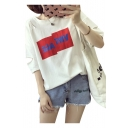 Popular Letter Pattern Cutout Hollow Detail Round Neck Half Sleeves Casual Tee