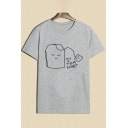 Adorable Cartoon Teabag Print Round Neck Short Sleeves Casual Tee