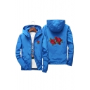 Chic Floral Embroidery Zip Up Hooded Spring Unisex Jacket
