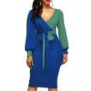 V Neck Color Block Lantern Long Sleeve Tied Waist Midi Pencil Dress