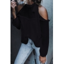Chic Cold Shoulder Round Neck Long Sleeve Plain Blouse
