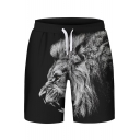 Cool Monochrome Lion Print Drawstring Waist Sports Shorts
