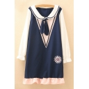 Childish Navy Collar Color Block Floral Embroidered Ruffle Hem Shift Mini Dress