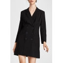 Notched Lapel Double Breasted Plain A-line Blazer Mini Dress