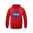 Fancy Letter Planet Print Long Sleeves Pullover Hoodie