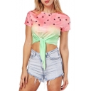 Girlish Watermelon Fruit Print Round Neck Short Sleeves Bow Tie Front Cropped Tee