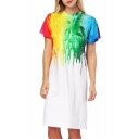 Popular Colorful Paint Color Block Crew Neck Short Sleeve Split Side Midi T-shirt Dress
