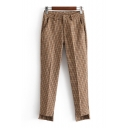 Classic Houndstooth Print High Low Hem Zip Fly Pants