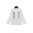 Spring's New Arrival Floral Embroidered Round Neck Long Sleeve Single Breasted Shirt