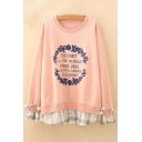 Fancy Letter Floral Print Plaids Pattern Bow Detail Layered Pullover Sweatshirt
