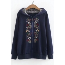 Hot Sale Floral Embroidered Lace Trim Long Sleeves Zippered Hoodie