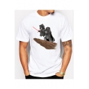 Comic Star Wars Darth Vader Printed Crew Neck Short Sleeve Leisure Tee