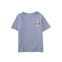 Cute Rabbit Embroidered Pocket Round Neck Short Sleeves Casual Tee