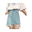 Sheer Mesh Patched High Waist Asymmetric Hem Mini Denim Skirt