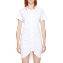 Simple Plain Chic Round Neck Short Sleeve Drawstring Front Mini T-shirt Dress