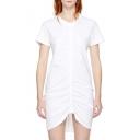 Simple Plain Chic Round Neck Short Sleeve Drawstring Front Mini T-shirt Dress