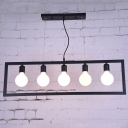 Industrial 5 Light Island Light with Metal Frame in Open Bulb Style, 35''W