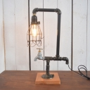 Industrial 18.5''H Table Lamp with Pipe Fixture Arm and Metal Cage in Vintage Style